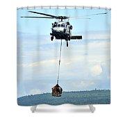 A Mh-60 Knighthawk Carries Supplies Shower Curtain