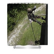 A Midshipman Rappels Down A Wall Shower Curtain