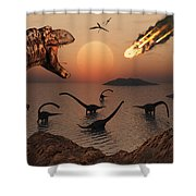 A Mighty T. Rex Roars From Overhead Shower Curtain