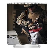 A Military Policeman Collects Materials Shower Curtain