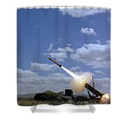 A Mim-104 Patriot Anti-aircraft Missile Shower Curtain