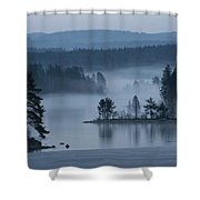 A Misty Forest Lake With A Small Island Shower Curtain
