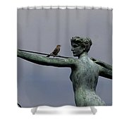 A Mockingbird Sits Atop A Bronze Shower Curtain