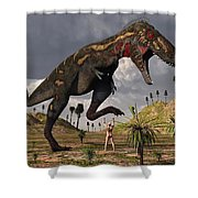 A Nano-tyrannosaurus Takes On Adam Shower Curtain
