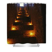 A Narrow Staircase Lit With Candles Shower Curtain