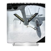 A Navy Fa-18f Super Hornet Is Refueled Shower Curtain by Stocktrek Images