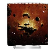 A Nebula Evaporates In The Far Distance Shower Curtain by Brian Christensen