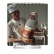 A Nurse Holds A Tightly Wrapped Newborn Shower Curtain