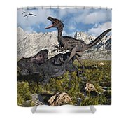 A Pack Of Velociraptors Attack A Lone Shower Curtain