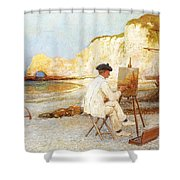 A Painter By The Sea Side Shower Curtain