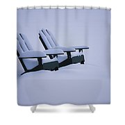 A Pair Of Adirondack Chairs In The Snow Shower Curtain