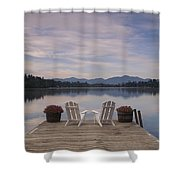 A Pair Of Adirondack Chairs On A Dock Shower Curtain