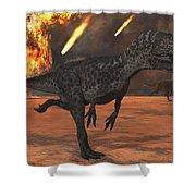 A Pair Of Allosaurus Dinosaurs Running Shower Curtain