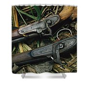A Pair Of Old Flint-type Rifles Lying Shower Curtain