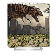 A Pair Of Tyrannosaurus Rex Explore Shower Curtain