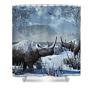 A Pair Of Woolly Rhinoceros In A Severe Shower Curtain