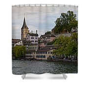 A Panorama View Of Zurich Shower Curtain