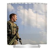 A Paratrooper Looks On As Other Shower Curtain