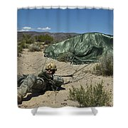 A Paratrooper Recovers After Landing Shower Curtain