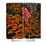 A Patriotic Autumn Shower Curtain