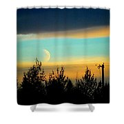 A Peek At The Moon Shower Curtain
