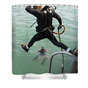 A Photographer Documents A Navy Diver Shower Curtain
