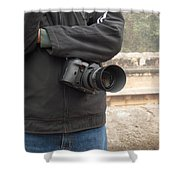 A Photographer With His Digital Camera On Location At A Historical Monument Shower Curtain