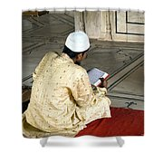 A Pious Devotee Reading The Quran Inside The Jama Masjid In Delhi Shower Curtain
