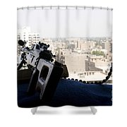 A Pk 7.62mm Machine Gun Nest On Top Shower Curtain by Terry Moore