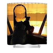 A Plane Captain Enjoys A Sunset Shower Curtain