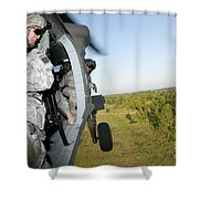 A Platoon Sergeant Prepares To Land Shower Curtain