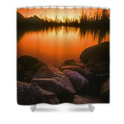 A Pond At Sunset, British Columbia Shower Curtain
