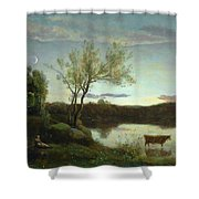 A Pond With Three Cows And A Crescent Moon Shower Curtain