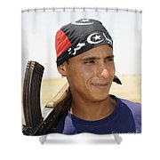 A Rebel Fighter With An Ak-47 Assault Shower Curtain