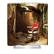 A Red Barber Chair In A Spotlight  Shower Curtain
