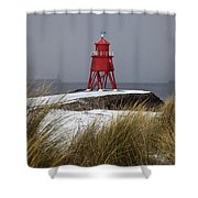 A Red Lighthouse Along The Coast South Shower Curtain by John Short