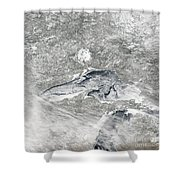 A Relatively Rare Blanket Of Ice Rests Shower Curtain by Stocktrek Images