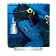 A Remora Attached To A Diver, Kimbe Shower Curtain