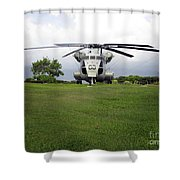 A Rh-53d Sea Stallion Helicopter Shower Curtain by Michael Wood