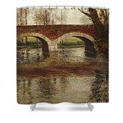 A River Landscape With A Bridge  Shower Curtain