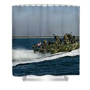 A Riverine Command Boat During Exercise Shower Curtain