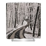 A Road Running Through Snow-covered Shower Curtain