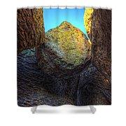 A Rock Balanced Precariously Shower Curtain