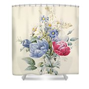 A Rose Anemone Mignonette And Daisies Shower Curtain