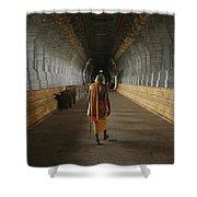 A Sadu Walks Through Rameswaram Temples Shower Curtain