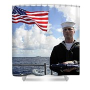 A Sailor Carries The National Ensign Shower Curtain