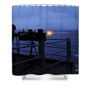 A Sailor Fires A .50-caliber Machine Shower Curtain
