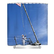 A Sailor Lowers The U.s. Navy Jack Shower Curtain