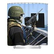 A Sailor Manning A .50-caliber Machine Shower Curtain
