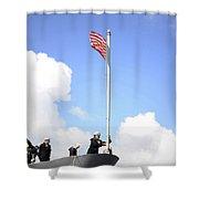A Sailor Raises The First Navy Jack Shower Curtain